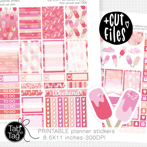 ice cream theme planner stickers