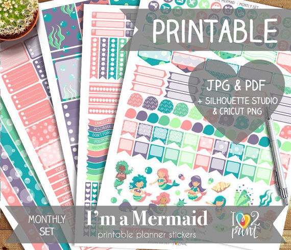 im a mermaid planner stickers printables