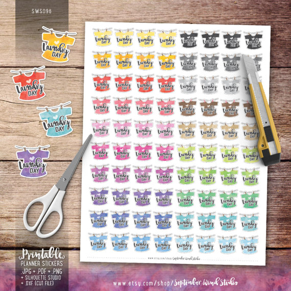 laundry day washing line planner stickers