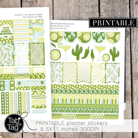 lime cactus planner sticker printables