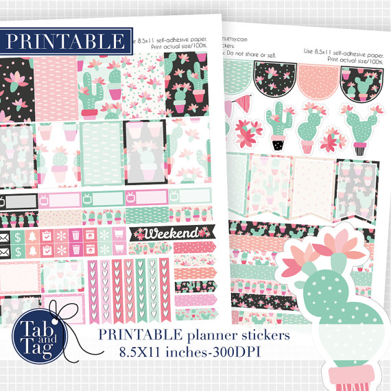 mint pink cactus printables