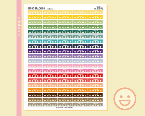 mood tracker planner sticker printables