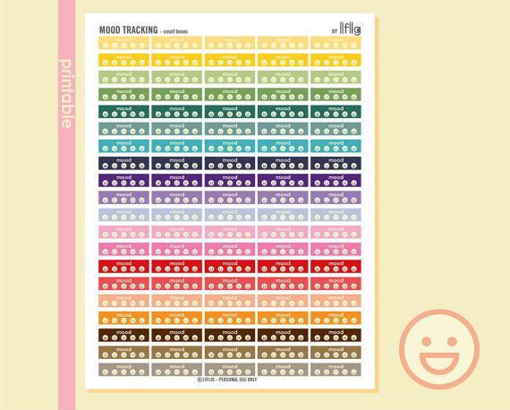 mood tracker planner sticker printables