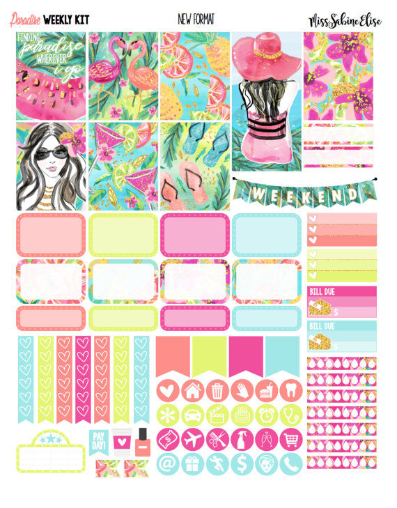 paradise planner printable stickers