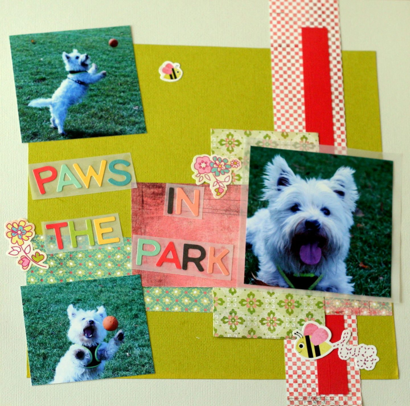 paws in the park cute westie scrapbook 1