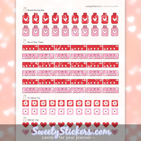 period menstruation planner sticker printables