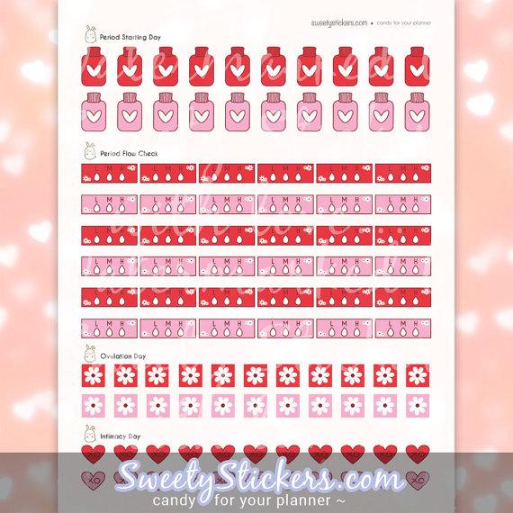 period menstruation planner sticker printables