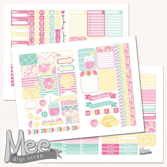 pink lemonade planner printables