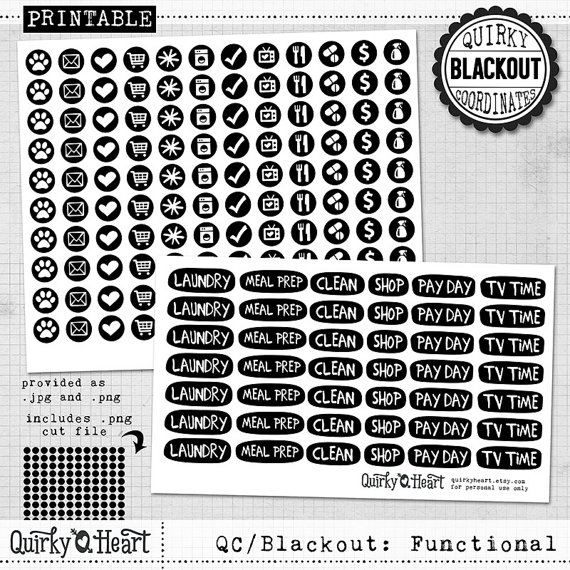 quirky blackout functional planner stickers