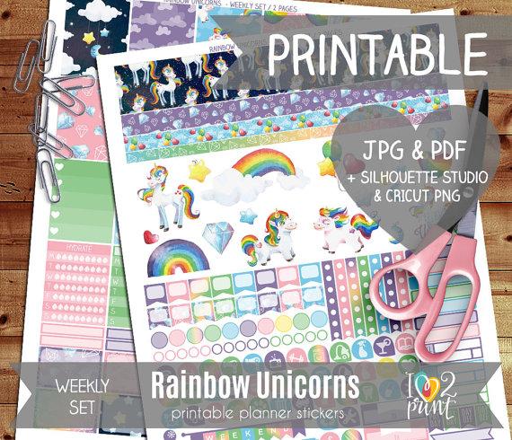rainbow unicorn planner sticker printables
