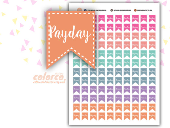 spring colour payday flag stickers printable