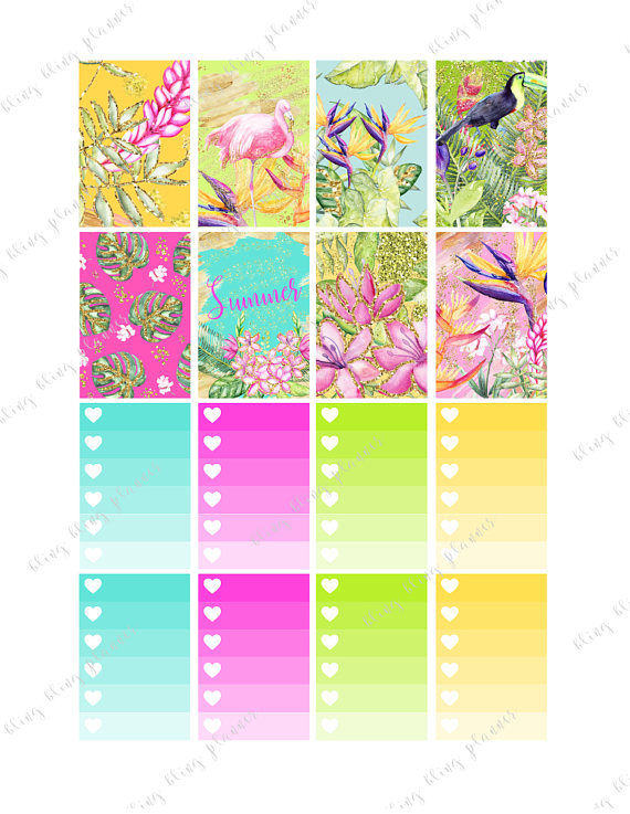 tropical planner stickers printable