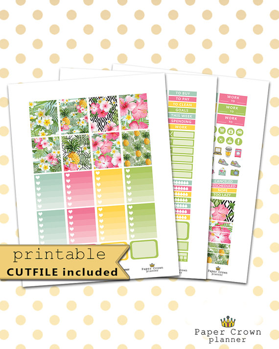 tropical garden printable planner stickers