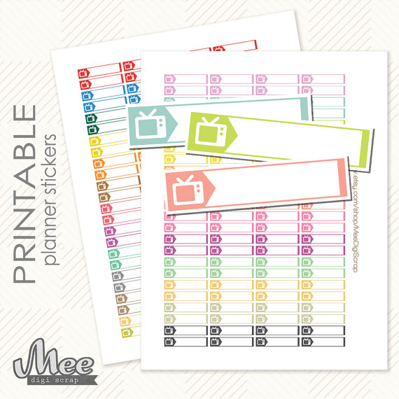 tv labels set printable planner stickers