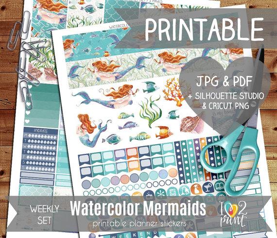 watercolour mermaid planner printables