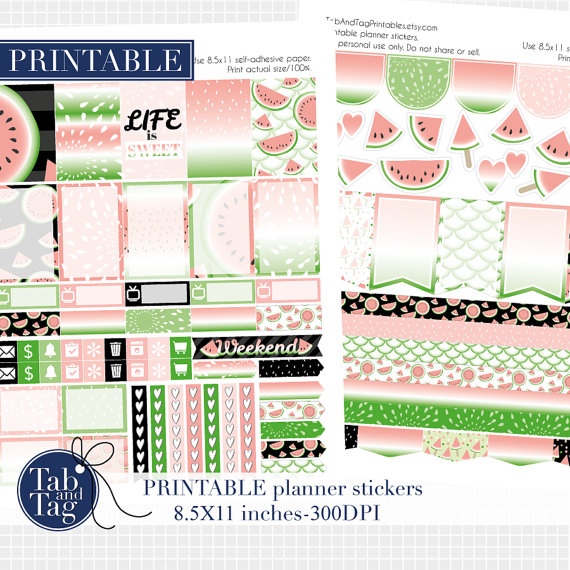 watermelon planner sticker printable