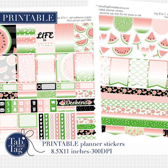 watermelon planner sticker printable