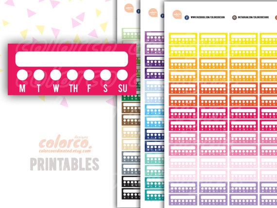 weekly habit tracker planner sticker printable