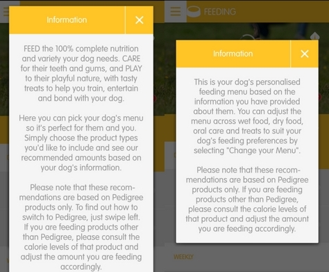 Enter your dogs diet in tracking app