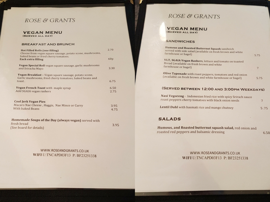 rose and grants glasgow vegan menu