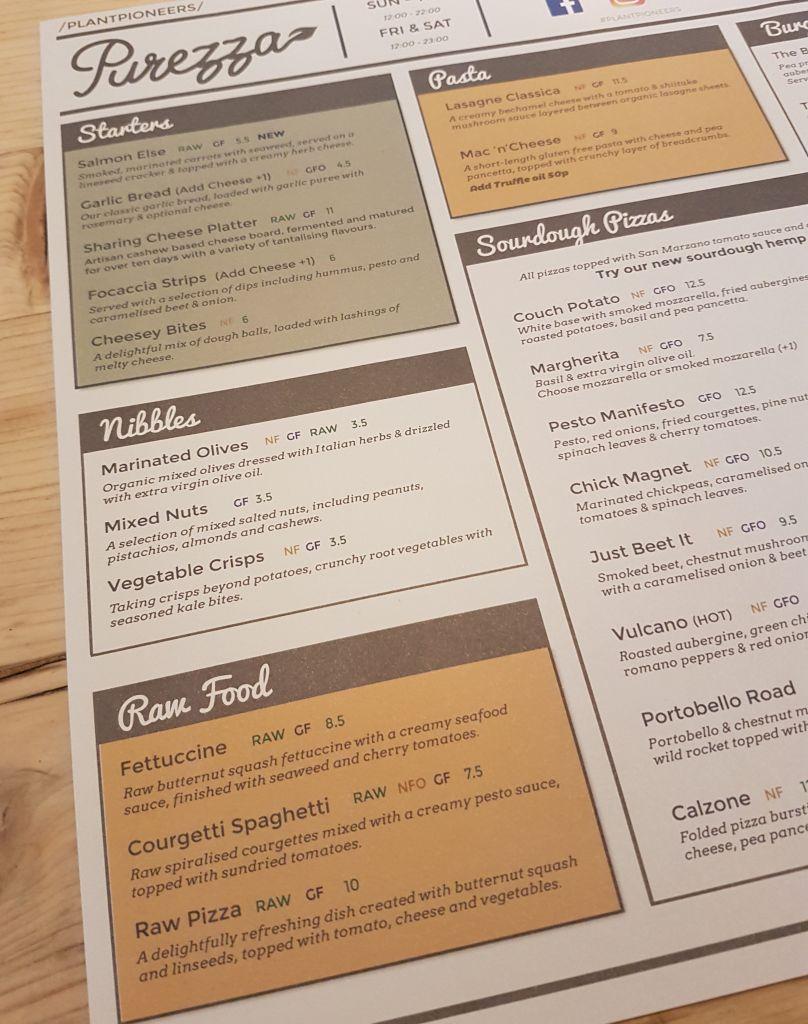 purezza vegan pizza menu