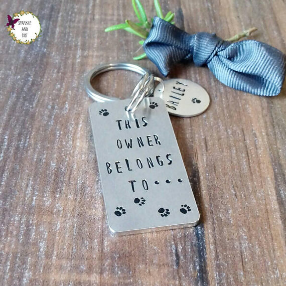 hand stamped dog owner keyring