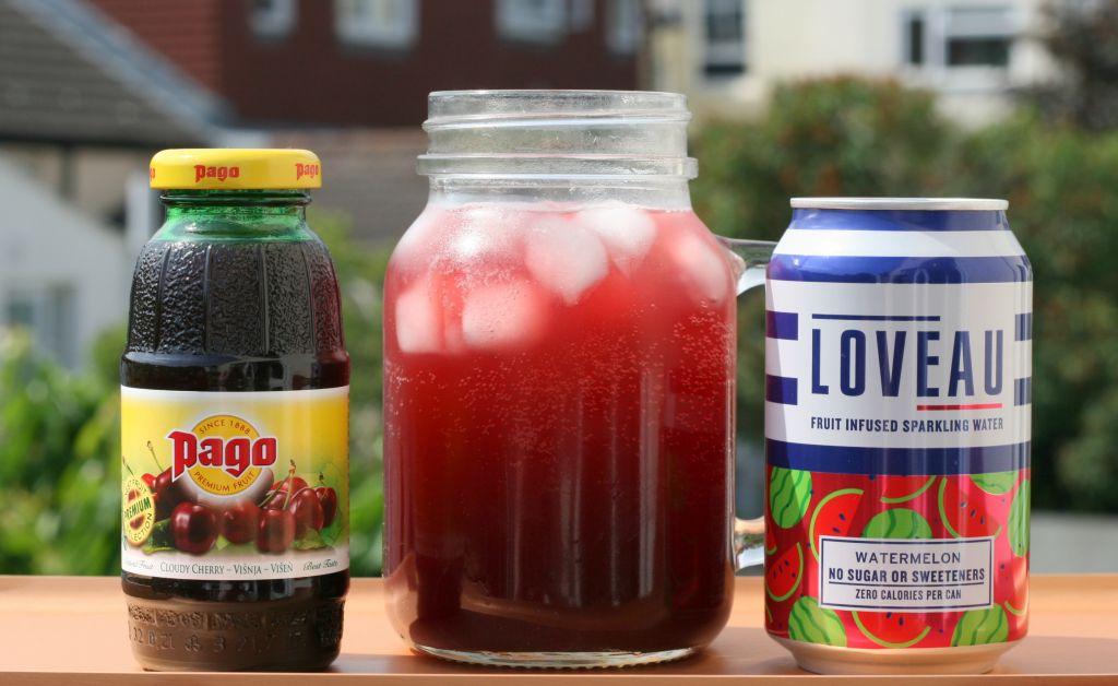cherry watermelon fizz mocktail pago juice loveau watermelon seltzer