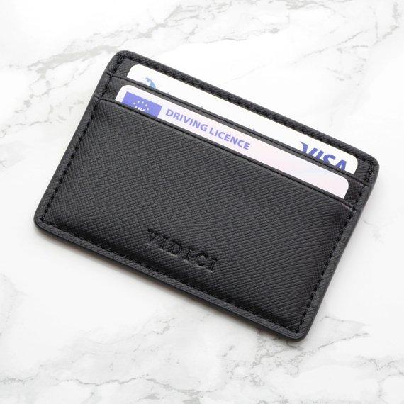 black vegan leather saffiano card holder
