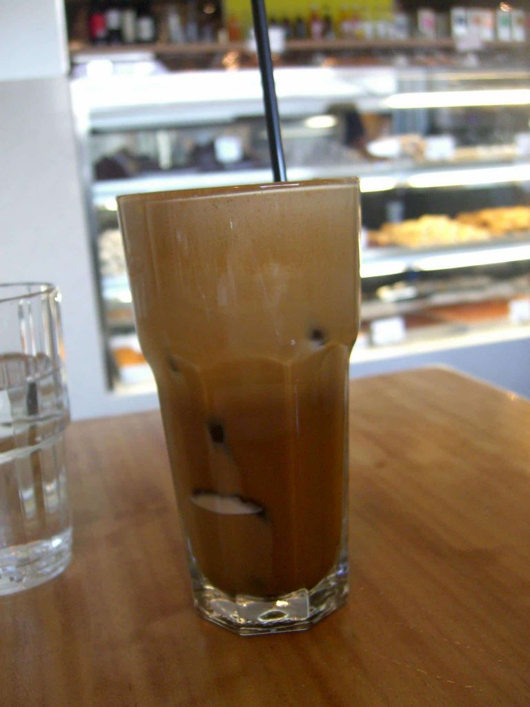 greek frappe in a cafe