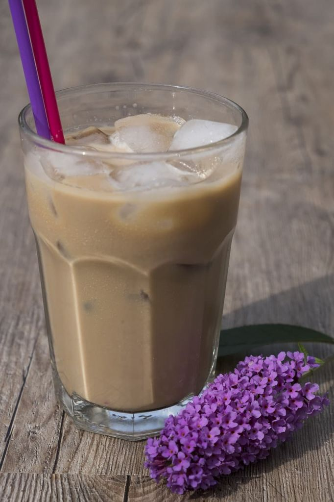 iced coffee with two straws and flowers in front