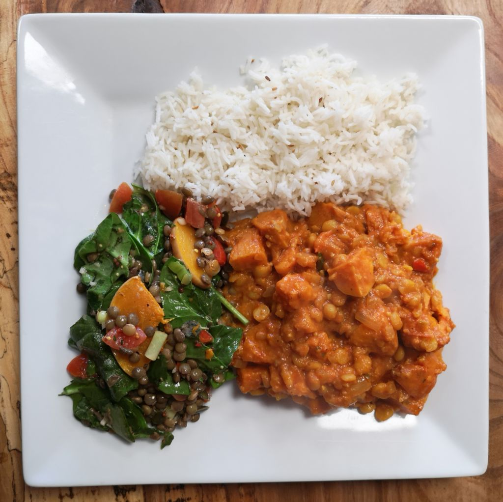 vegan split pea and sweet potato curry with rice and puy lentil salad