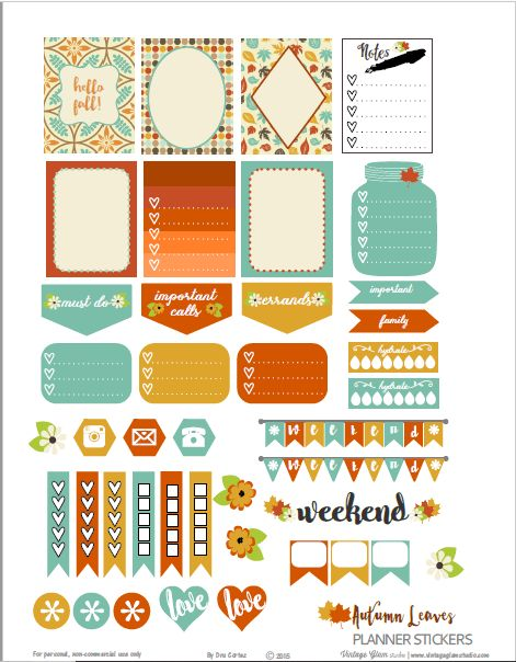 Autumn Leaves Planner Stickers