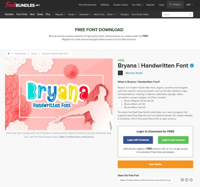 font bundles bryana handwritten font page